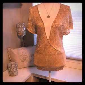 Sparkling low cut split bell sleeve sweater - SM